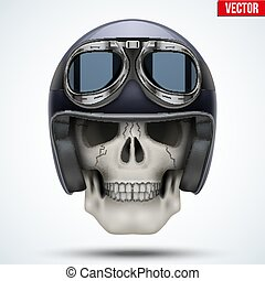 Human skull with retro chopper helmet.