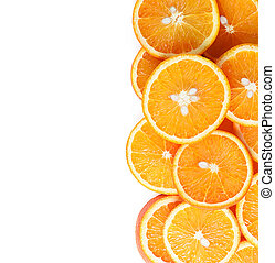 orange fruit slices isolated on a white background. Top view