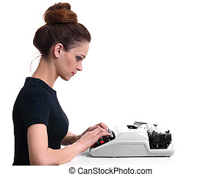 secretary working on typewriter