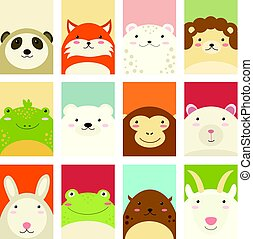 Set of banners with cute animals - Banners, backgrounds,...