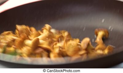 Chanterelles in frying pan.