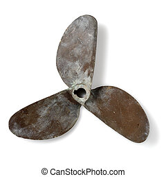 Propeller - Old tree-bladed boat propeller