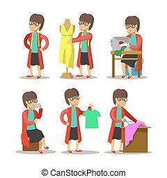 Woman Fashion Designer Cartoon. Dressmaker with Mannequin....