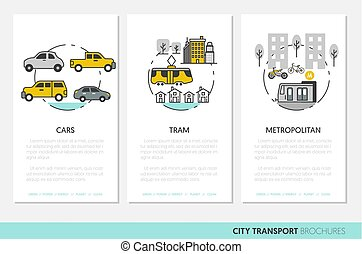 City Transportation Business Brochure Template with Linear Thin Vector Icons