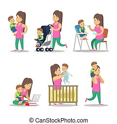 Happy Mother and Son Cartoons. Motherhood and Parenting. Vector character illustration