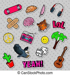 Fashion Badges, Patches, Stickers set with Hippie Elements, Skateboard, Peace Sign, Guitar and Palms. Vector illustration