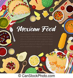 Mexican Cuisine Traditional Food with Tacos. Vector illustration