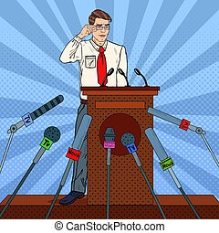 Pop Art Businessman Giving Press Conference. Mass Media...