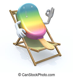 ice lolly cartoon that rest in beach chair, 3d illustration