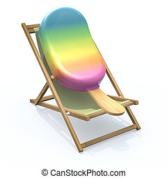 ice lolly that rest in beach chair, 3d illustration