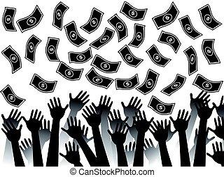 money falling background