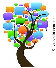 speech bubbles tree - isolated color speech bubbles tree on...