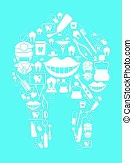 dental background - dental design on blue background