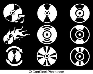 white CD icons on black background