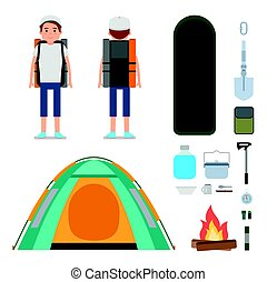 The young traveler. Set of Camping icons and elements.