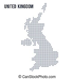Vector pixel map of United Kingdom isolated on white...