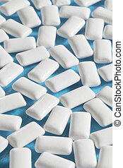 Chewing gum - Rectangular white mint chewing gum on blue