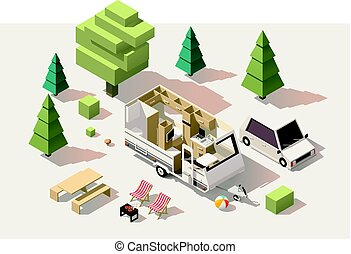 Vector isometric low poly camping equipment - Vector...