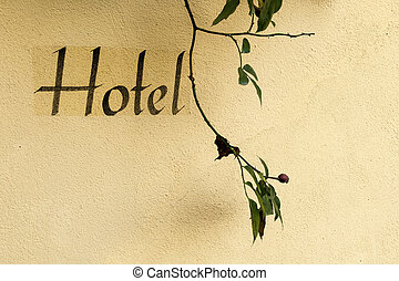 inscription on a hotel - the wort hotel on a house wall
