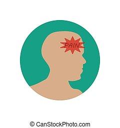 vector, Ilustración, dolor de cabeza