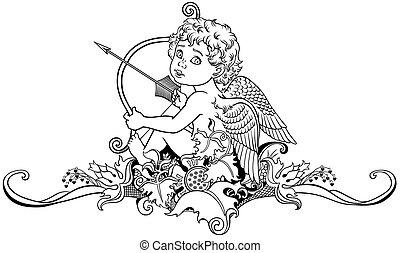 little angel cupid - cartoon little angel cupid sitting on...