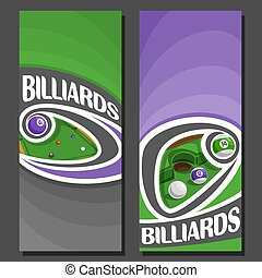 Vector vertical Banners for Billiards: 2 layouts for title...