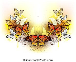 Symmetrical pattern of butterflies monarchs