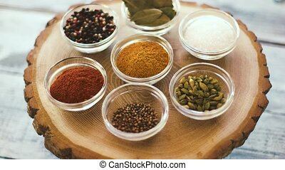 Bowls with spices. Salt and curry. Choose the best...