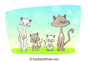 Illustration of a cut cat family
