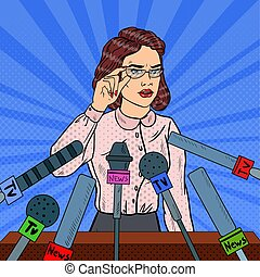 Confident Business Woman on Press Conference. Mass Media...
