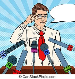 Confident Man Giving Press Conference. Mass Media Interview....