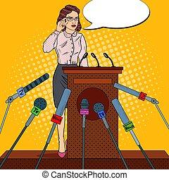 Pop Art Business Woman Giving Press Conference. Mass Media...