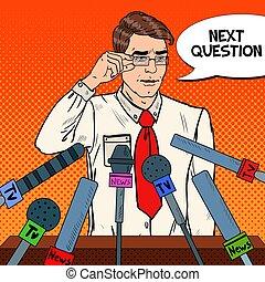 Man Giving Press Conference. Mass Media Interview. Pop Art...