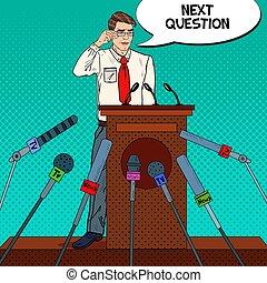 Pop Art Business Man Giving Press Conference. Mass Media...