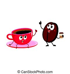 Funny coffee bean and espresso cup characters showing thumb...