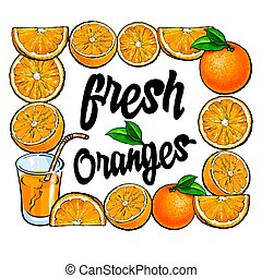 Square frame of oranges and juice with place for text