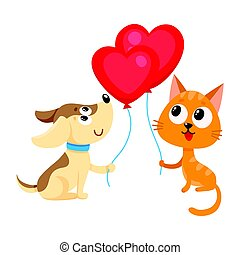 Funny dog, puppy and cat, kitten holding heart shaped...