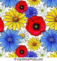 Seamless pattern of top view wild and garden flowers