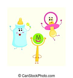 Funny baby pacifier, milk, bottle and rattle toy characters