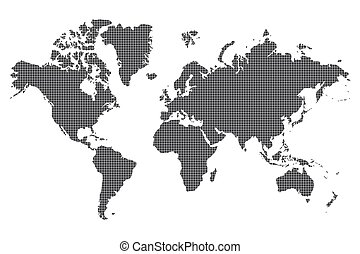 Dotted World map of square dots on white background. Vector...
