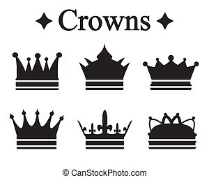 Set of silhouettes king crown or pope tiara.Vector...