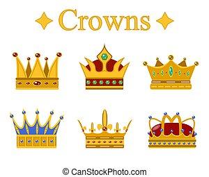 Set of gold king crown or pope tiara.Vector illustration.
