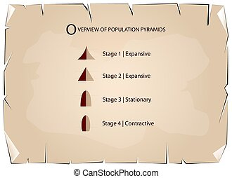 Different Types of Population Pyramids on Old Paper...