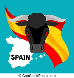 Traditional spanish corrida. Bull on background flag and map...