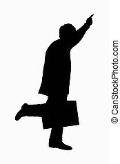 Running Late - Silhouette of executing with briefcase...