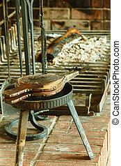 Fireplace bellows. - Fireplace bellows at home. Fire...