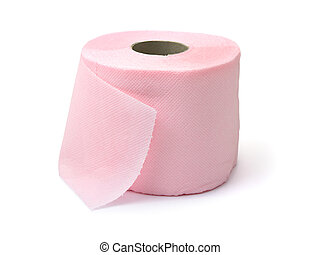 Pink toilet paper, isolated on white background