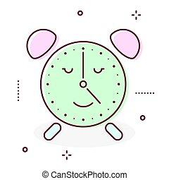 Alarm clock retro vector icon.