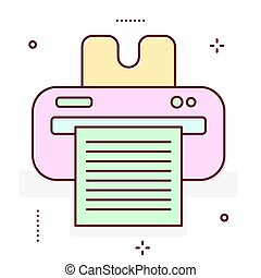 Printer line icon. - Printer line vector icon. Fax laserjet...