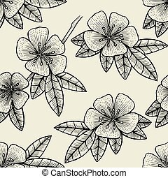 Seamless Flower of Fruit tree branch pattern hand drawn...